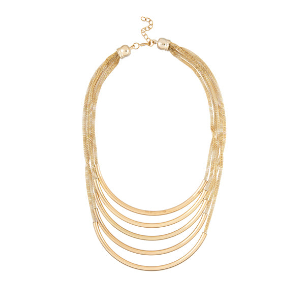 Urthn Gold Plated Multi Layer Chain Statement Necklace