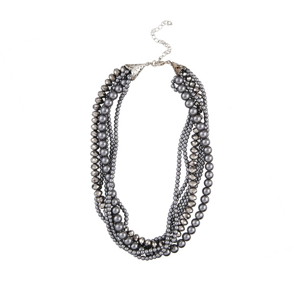 Urthn Black Oxidised Plated Beads Statement Necklace