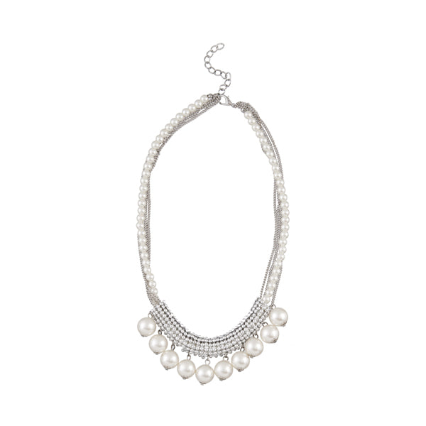 Urthn White Pearl Rhodium Plated Statement Necklace