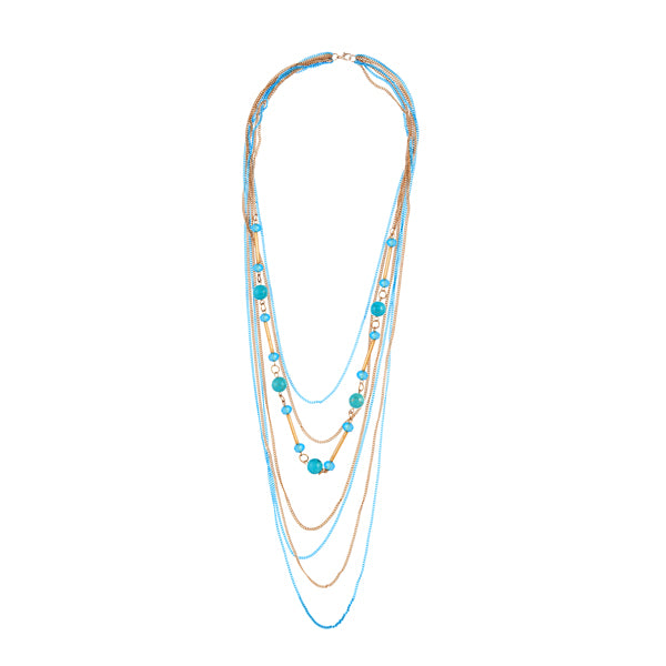 Urthn Beads Multi Layer Chain Gold Plated Fusion Necklace