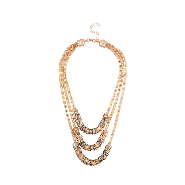 Urthn Rose Gold Plated 3 layers Chain Statement Necklace