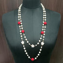 Urthn Gold Plated Red Beads Statement Necklace