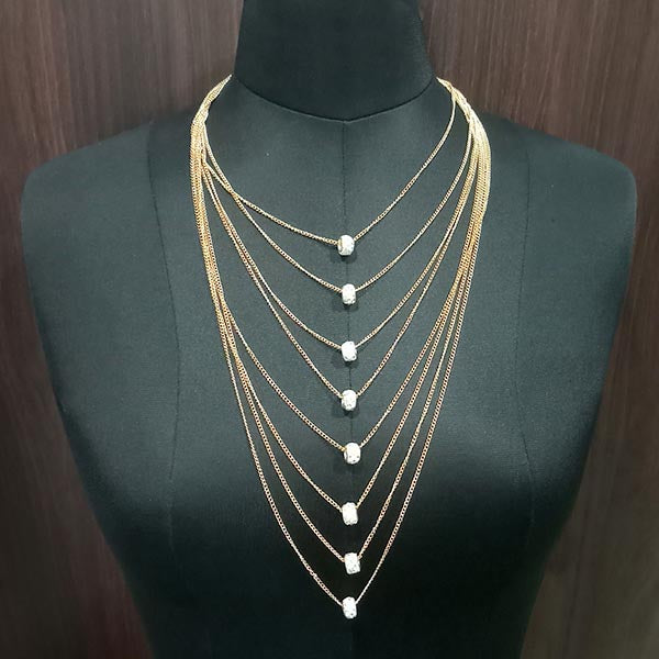 Urthn Gold Plated Austrian Stone Chain Statement Necklace