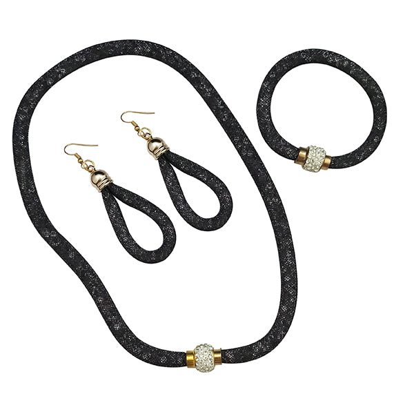 Urthn Gold Plated Black Statement Necklace Set with Bracelet