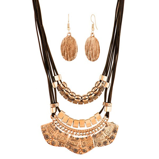 Urthn Antique Gold Plated Statement Necklace Set