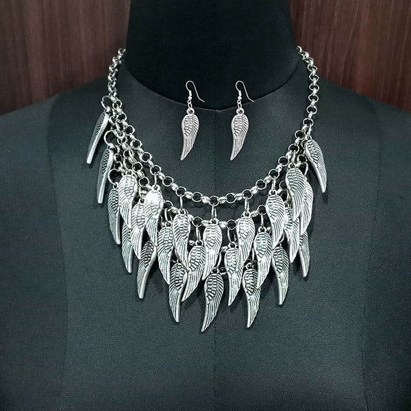 Jeweljunk Leaf Design Rhodium Plated Boho Necklace Set