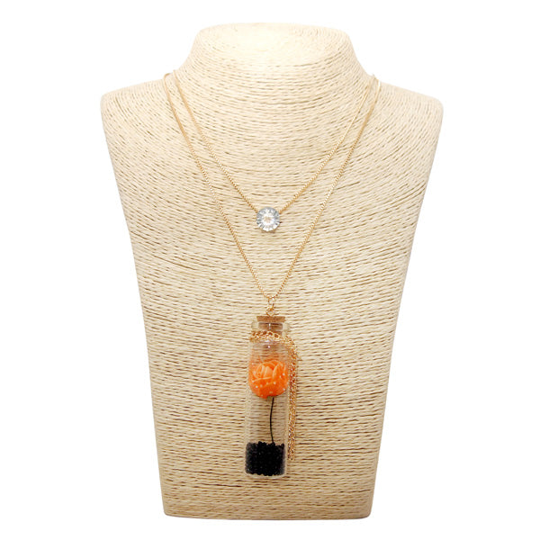 Urthn Orange Flower Gold Plated Statement Necklace