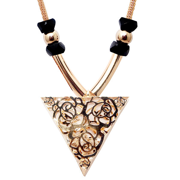 Urthn Rose Gold Plated Glass Stone Necklace