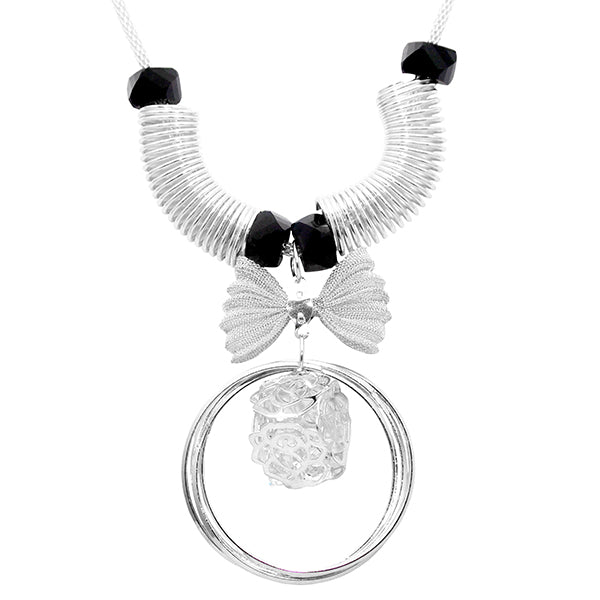Urthn Silver Plated Glass Stone Necklace