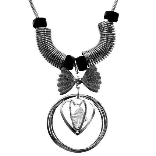 Urthn Rhodium Plated Glass Stone Statement Necklace