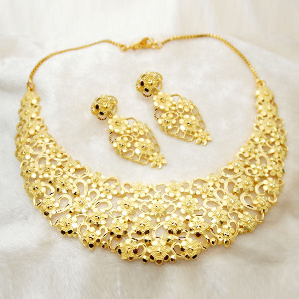 Neu Gold Copper Forming Gold Plated Floral Necklace Set