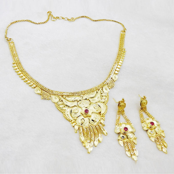 Neu Gold Forming Gold American Diamond Copper Necklace Set
