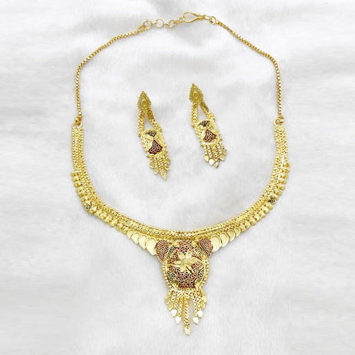 Neu Gold Meenakari Forming Gold Plated Copper Necklace Set