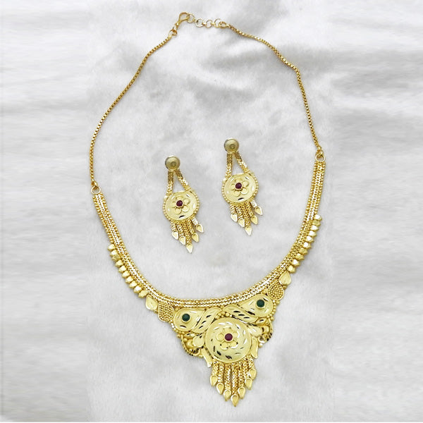 Neu Gold Stone Forming Gold Plated Copper Necklace Set