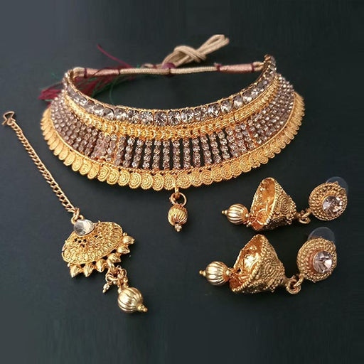 Kriaa Brown Stone Choker Necklace Set With Maang Tikka