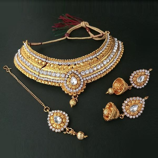 Kriaa Antique Gold Choker Necklace Set With Maang Tikka