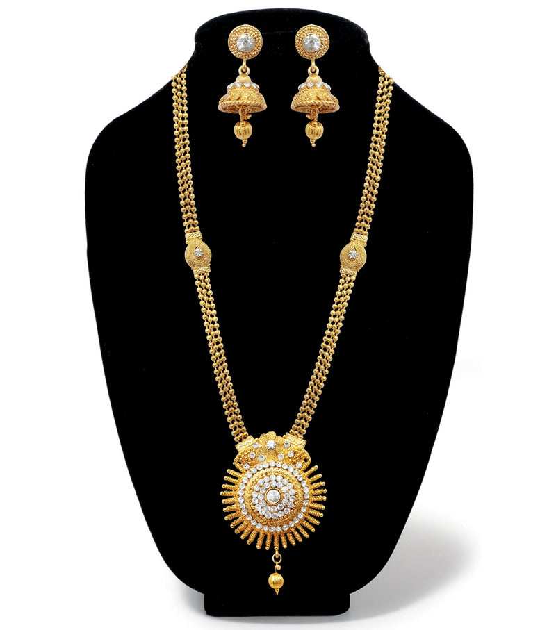 Kriaa Gold Plated White Austrian Stone Long Haram Necklace Set
