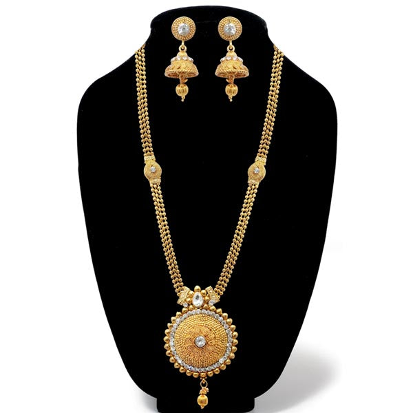 Kriaa White Austrian Stone Gold Plated Long Haram Necklace Set