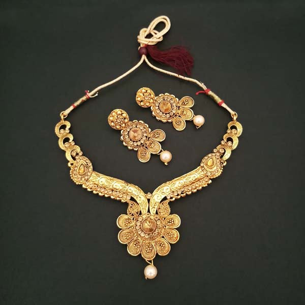 Kriaa Brown Austrian Stone Floral Design Gold Plated Necklace Set