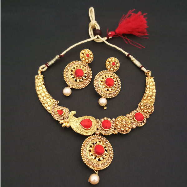 Kriaa Red Kundan Stone Gold Plated Necklace Set