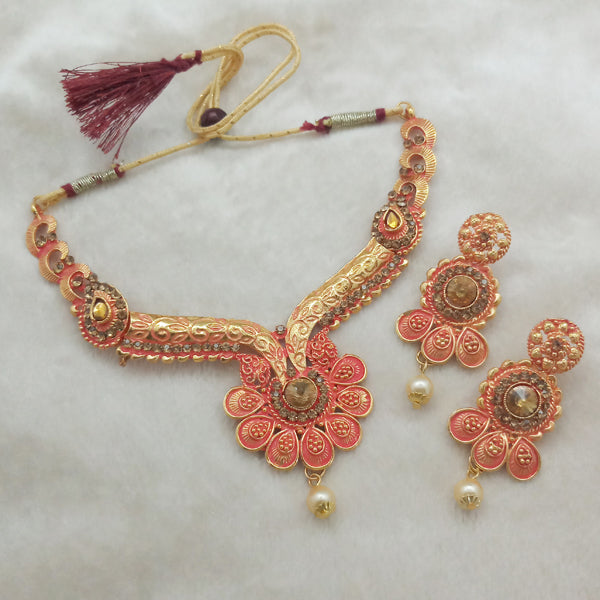 Kriaa Brown Austrian Stone Gold plated Necklace Set
