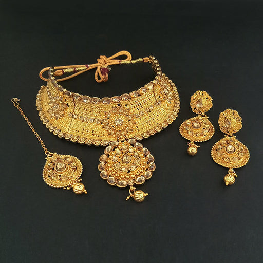 Kriaa Brown Austrian Stone Necklace Set With Maang Tikka
