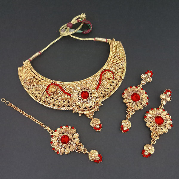 Utkrishtt Red Austrian Stone Necklace Set With Maang Tikka