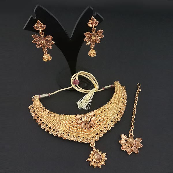 Utkrishtt Austrian Stone Necklace Set With Maang Tikka