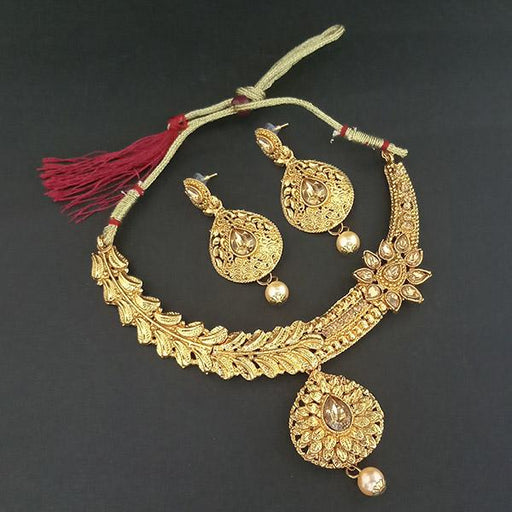Utkrishtt Gold Plated Brown Austrian Stone Necklace Set - 1107955-CL