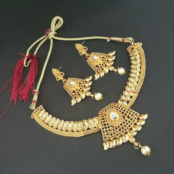 Utkrishtt Gold Plated White Kundan Stone Necklace Set
