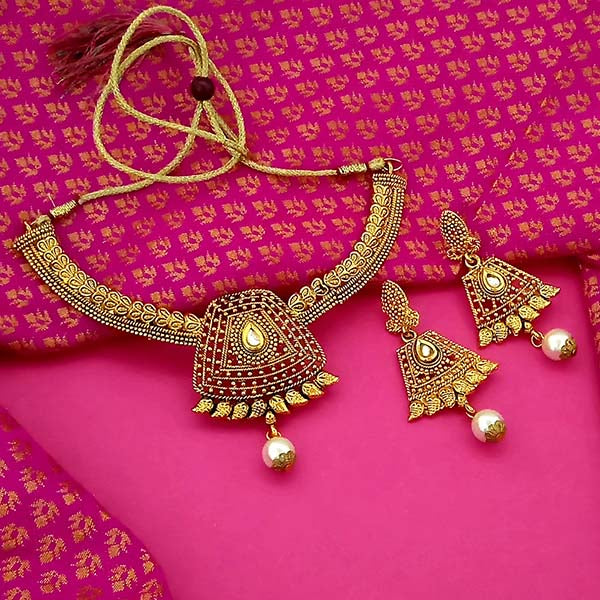 Utkrishtt Gold Plated Brown Kundan Stone Necklace Set