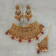 Utkrishtt Austrian Stone Choker Necklace Set With Maang Tikka