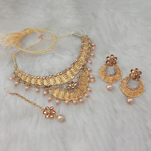 Kriaa Brown Stone Gold Plated  Necklace Set With  Maang Tikka
