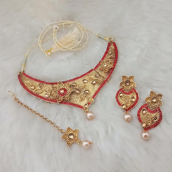 Kriaa Red Stone Gold Plated Necklace With Maang Tikka