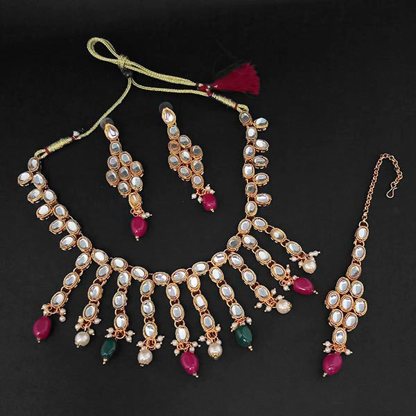 Kriaa Kundan And Maroon And Green Beads Gold Plated Necklace Set With Maang Tikka