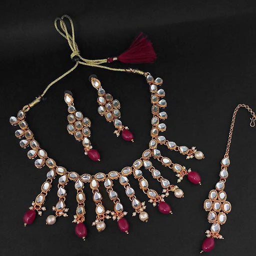 Kriaa Gold Plated Kundan And Maroon Beads Necklace Set With Maang Tikka