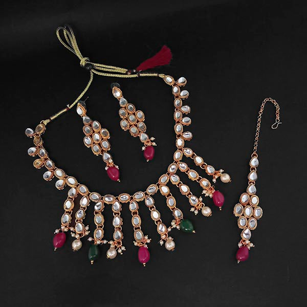 Kriaa Kundan And Green Beads Gold Plated Necklace Set With Maang Tikka