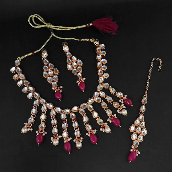 Kriaa Kundan And Maroon Beads Gold Plated Necklace Set With Maang Tikka
