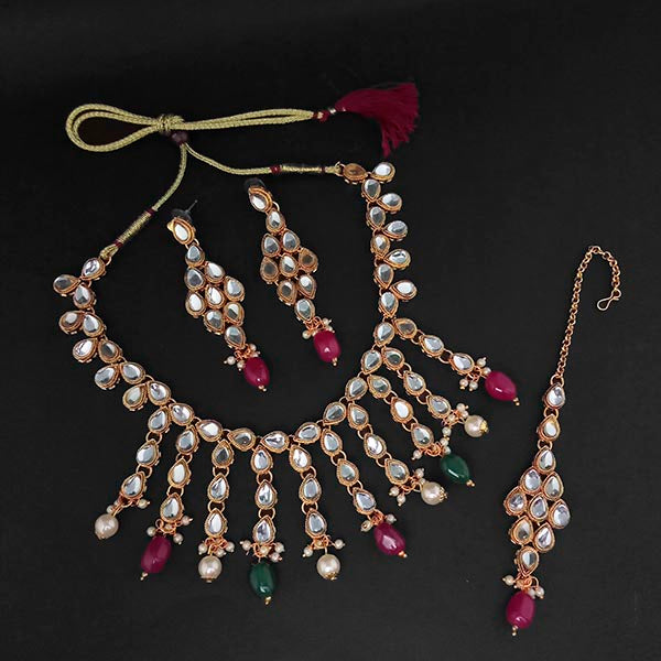 Kriaa Kundan Green Beads Gold Plated Necklace Set With Maang Tikka