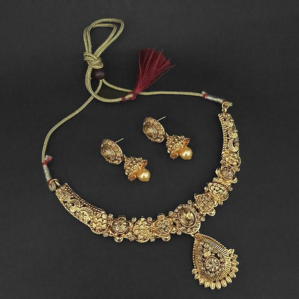 Kriaa Gold Plated Brown Austrian Stone Necklace Set -1107982