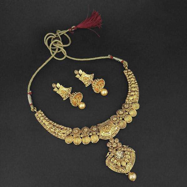 Kriaa Gold Plated Brown Austrian Stone Necklace Set -1107983