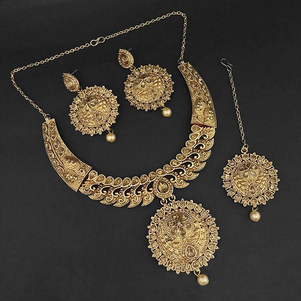 Kriaa Gold Plated Brown Austrian Stone Necklace Set with Maang Tikka -1107986