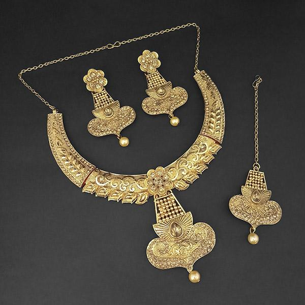 Kriaa Gold Plated Brown Austrian Stone Necklace Set with Maang Tikka -1107987