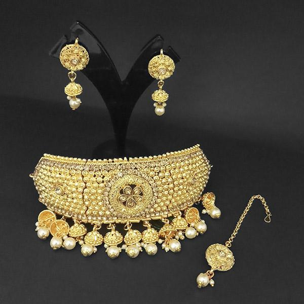 Kriaa Gold Plated Brown Austrian Stone Necklace Set With Maang Tikka -1107988A