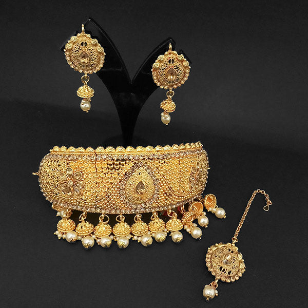 Kriaa Gold Plated Brown Austrian Stone Necklace Set with Maang Tikka