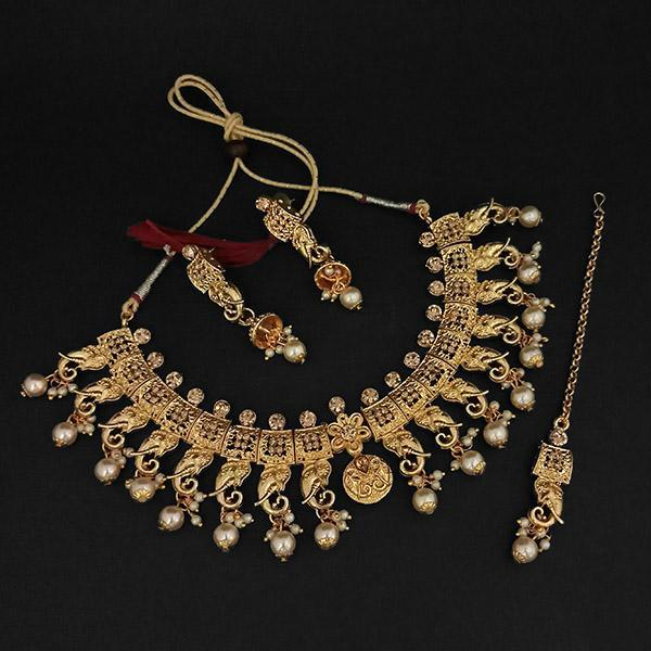 Kriaa Gold Plated Brown Austrian Stone Necklace Set With Maang Tikka -1107990A - L