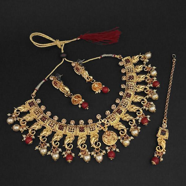 Kriaa Gold Plated Maroon Austrian Stone Necklace Set With Maang Tikka -1107990B - L
