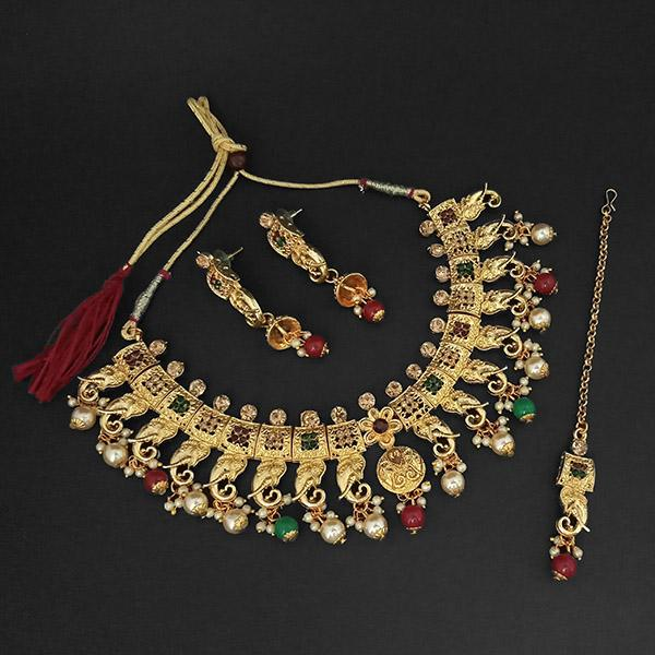 Kriaa Gold Plated Green Austrian Stone Necklace Set With Maang Tikka