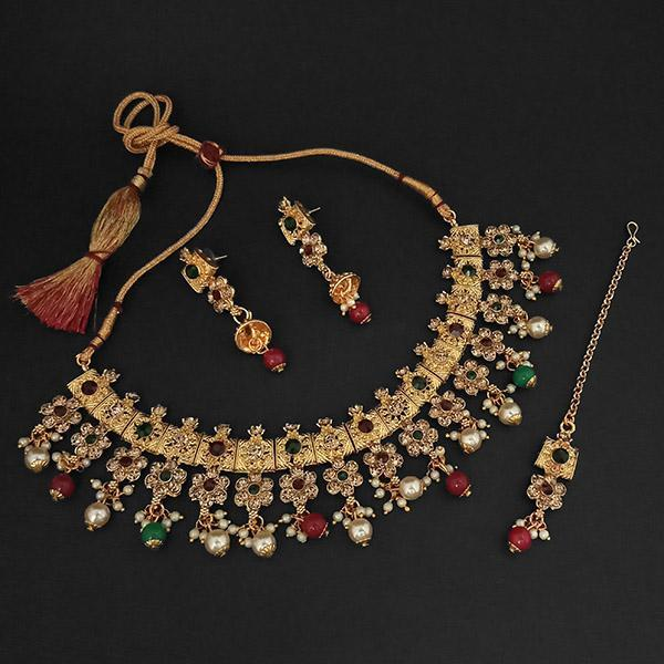 Kriaa Gold Plated Maroon Austrian Stone Necklace Set With Maang Tikka -1107991C - L
