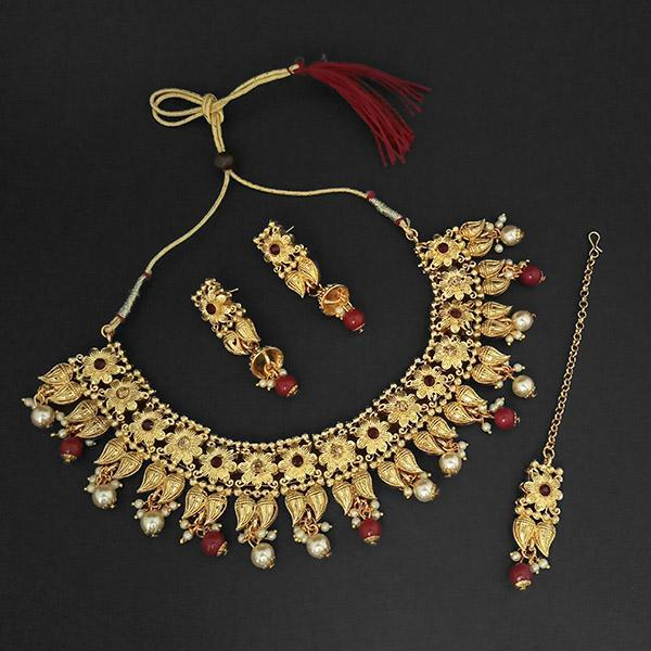 Kriaa Gold Plated Maroon Austrian Stone Necklace Set With Maang Tikka -1107992B - L